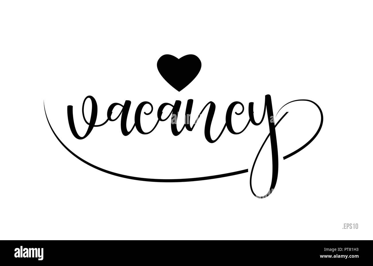 Mot Vacance Avec Texte Noir Et Blanc Coeur Damour Pour Carte De Visite Brochure Ou Typographie Logo Design