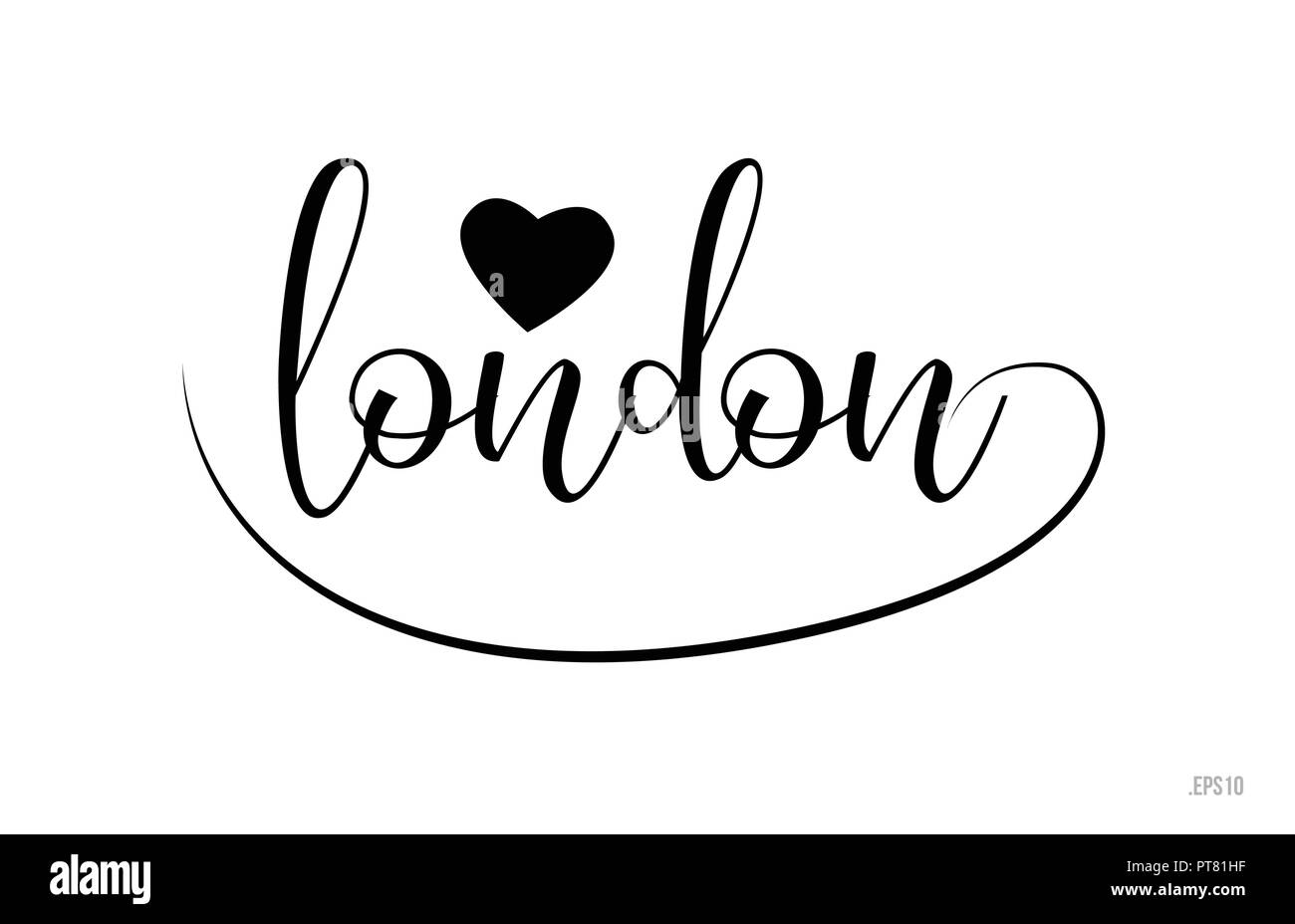 Mot De Londres Avec Texte Noir Et Blanc Coeur Damour Pour Carte Visite Brochure Ou Typographie Logo Design