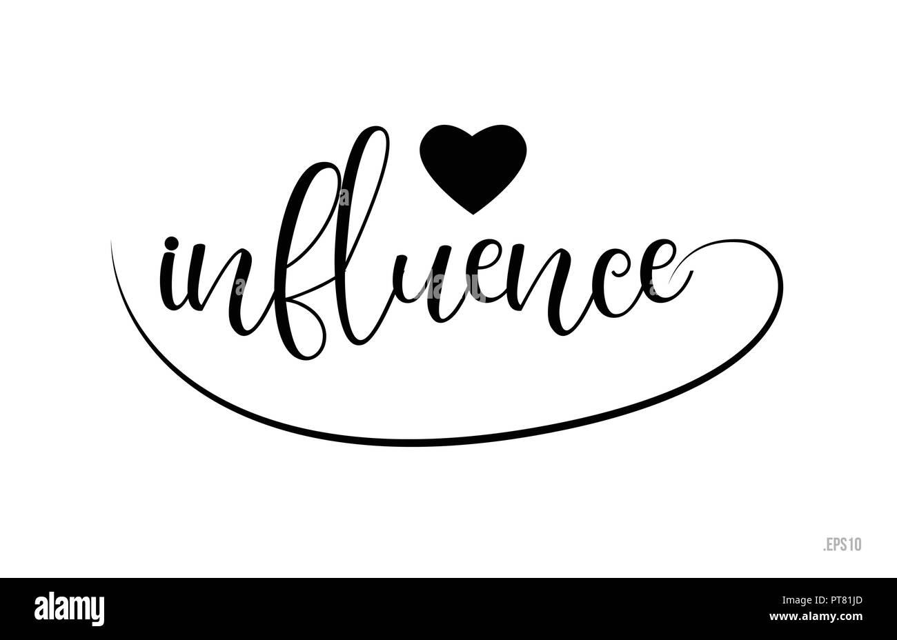Influence Mot Texte Avec Le Noir Et Blanc Coeur Damour Pour Carte De Visite Brochure Ou Typographie Logo Design