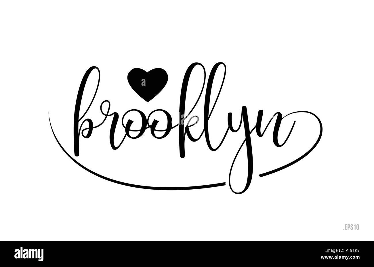 Mot De Brooklyn Avec Texte Noir Et Blanc Coeur Damour Pour Carte Visite Brochure Ou Typographie Logo Design