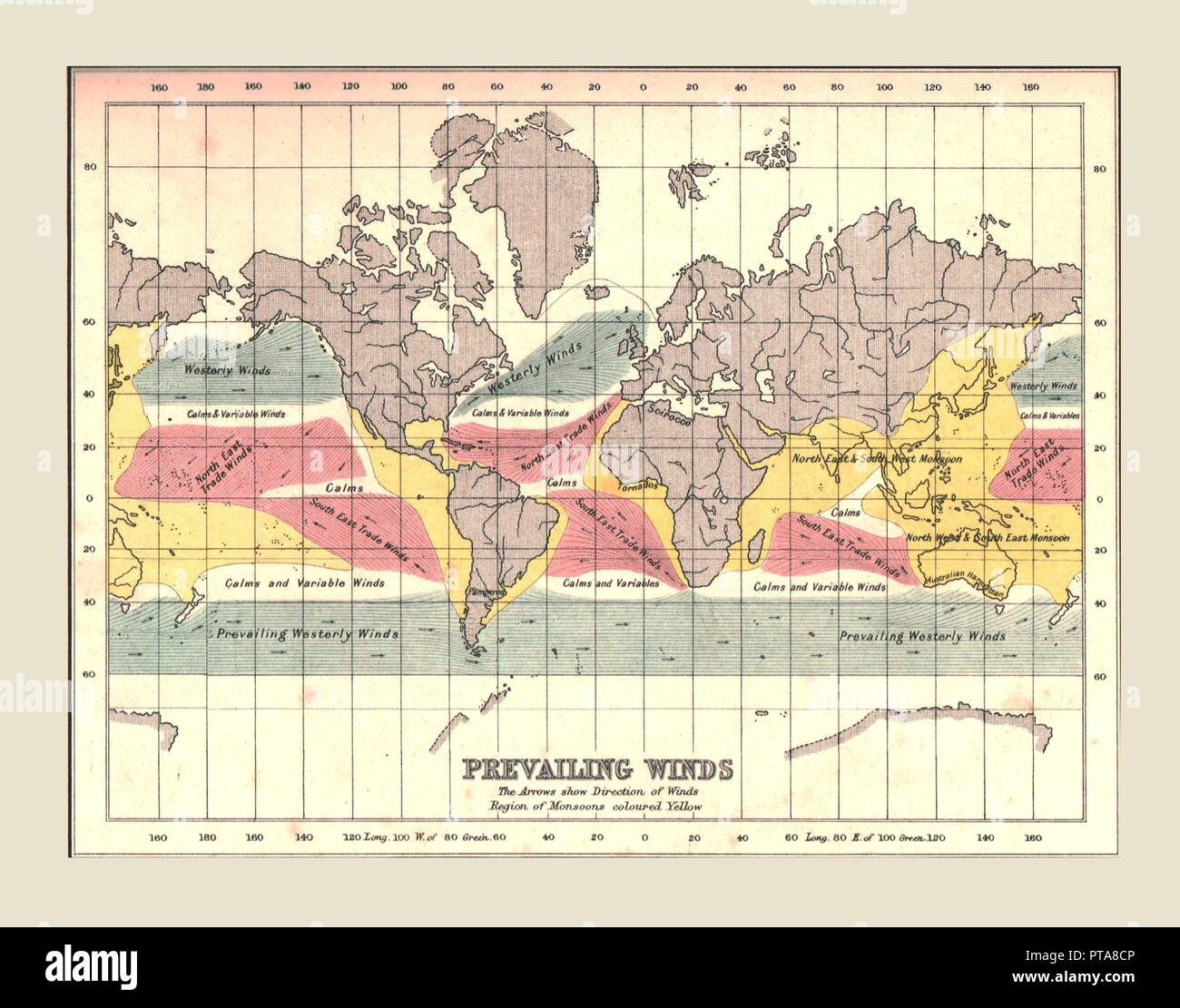 Carte du monde montrant les vents dominants, 1902. Des flèches indiquant la direction, avec les régions de mousson coloré en jaune. Du siècle atlas du monde. [John Walker &AMP; Co, Ltd., Londres, 1902] Photo Stock