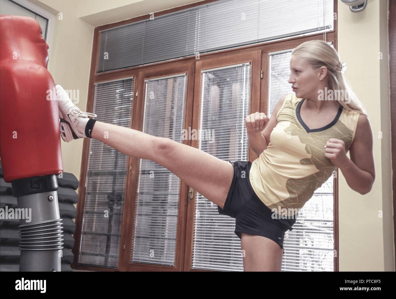 Femme à la formation de sport (modèle récent) Photo Stock