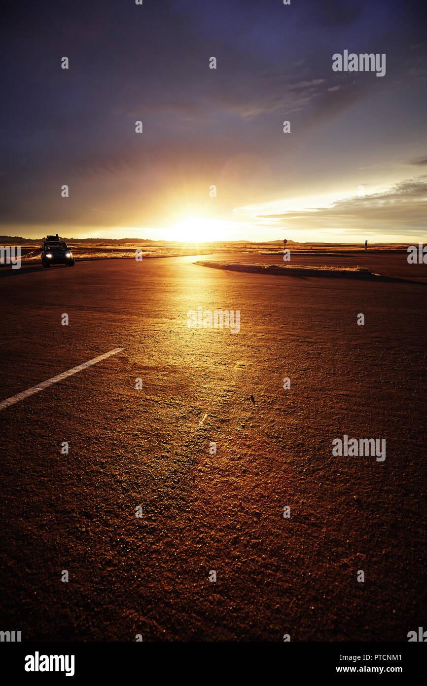 Scenic Promenade sunset, accent sur l'horizon, harmonisation des couleurs appliquées, USA. Photo Stock