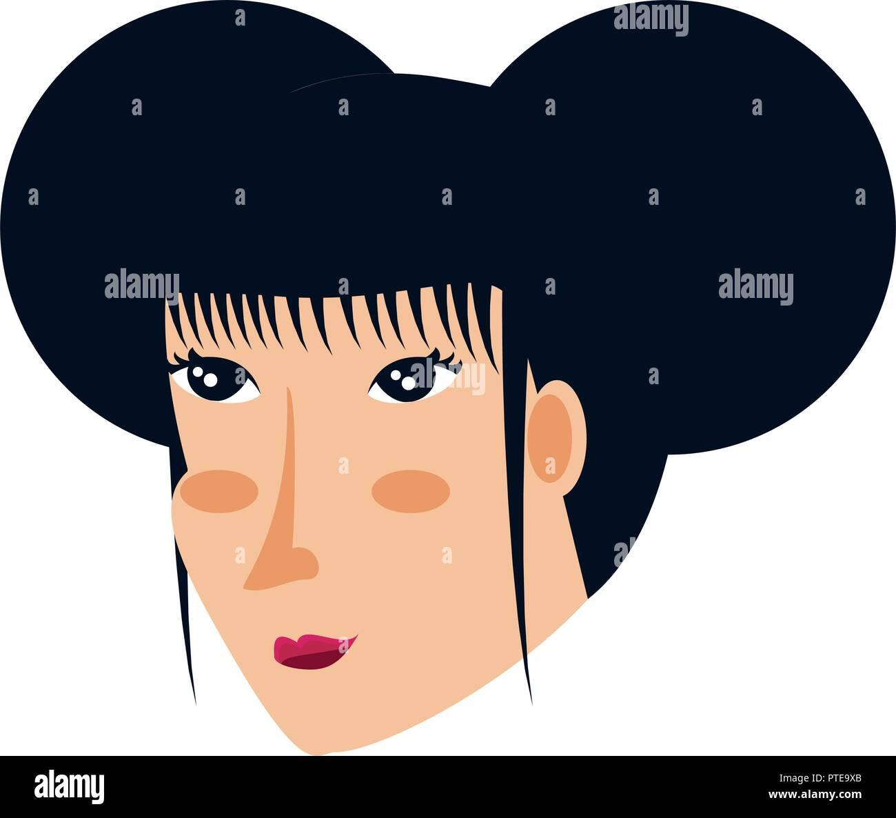 Tête de femme geisha vector illustration design caractère avatar Illustration de Vecteur