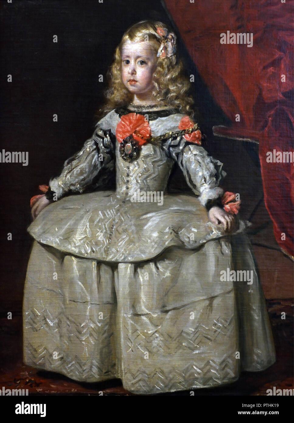 Velázquez1599 Blanche 1656 Une Diego Infanta Margarita Robe Dans AR54jL