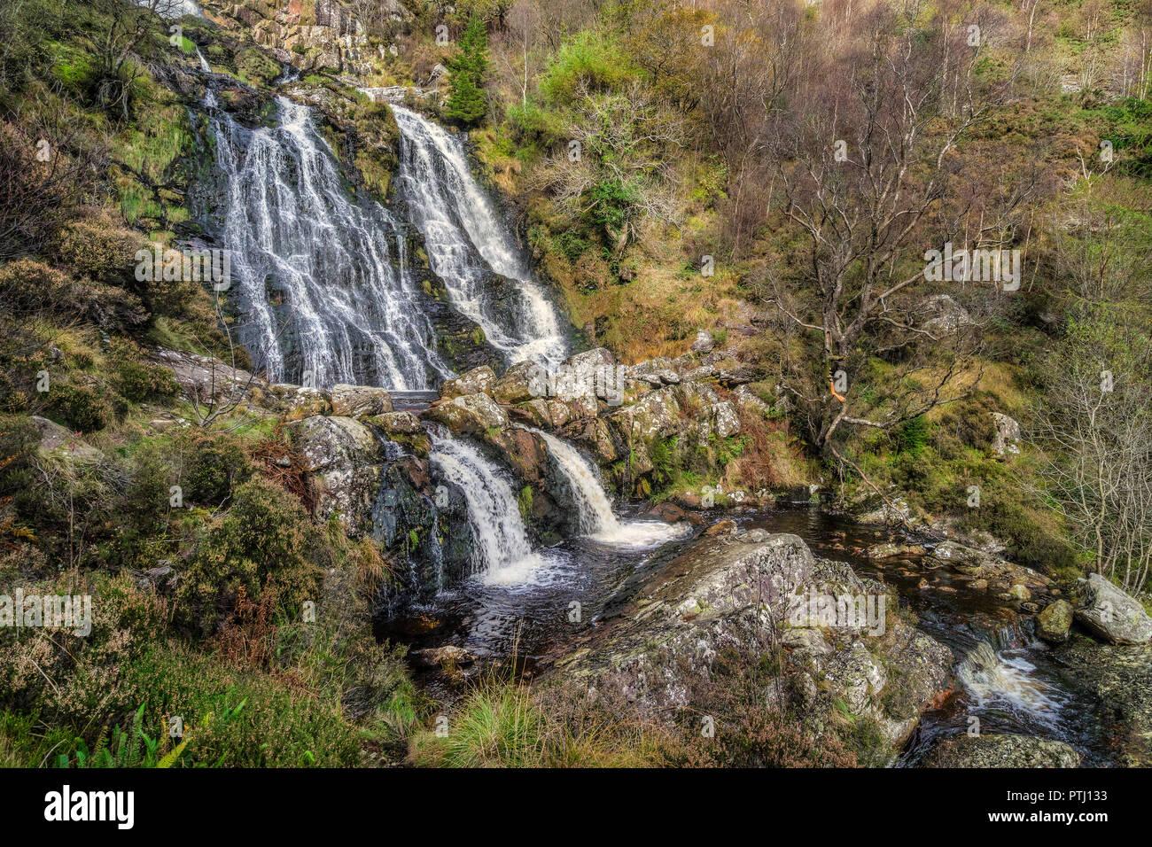 Cascade Rhyd-y-Pistyll meinciau montrant section centrale sur la rivière Afon (Eiddew Rhiwargor) près à l'extrémité nord du lac Vyrnwy North Wales UK Octobre Photo Stock