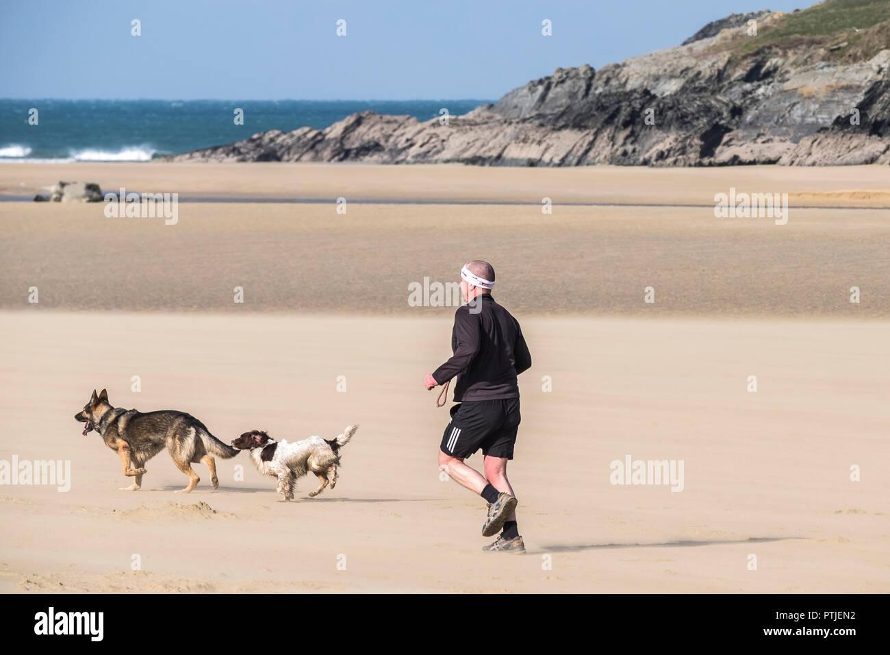 Un homme court avec ses chiens sur la plage de Crantock en Newquay en Cornouailles. Banque D'Images