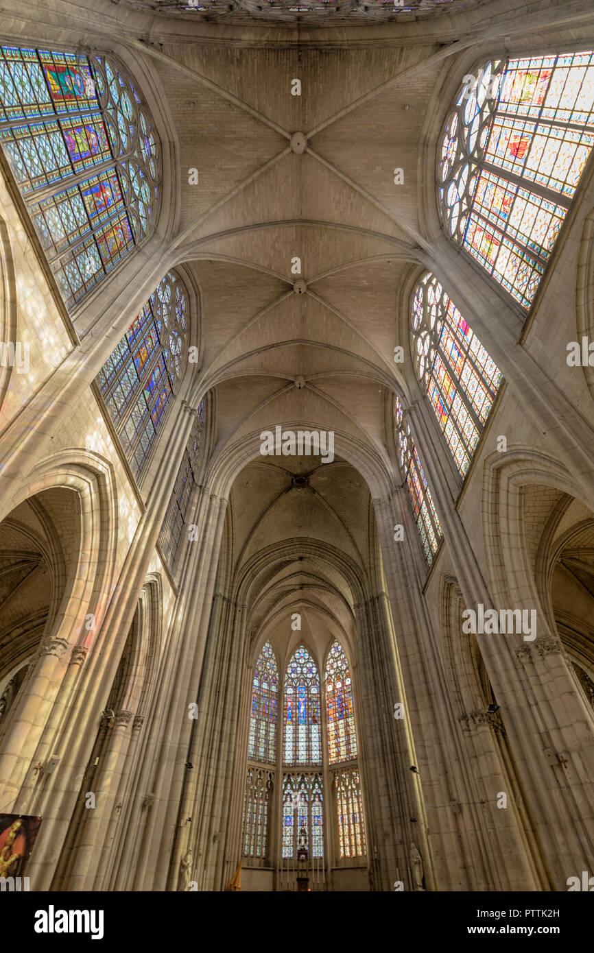 Vault de Basilique Saint-Urbain, 13e siècle église gothique à Troyes, France Banque D'Images