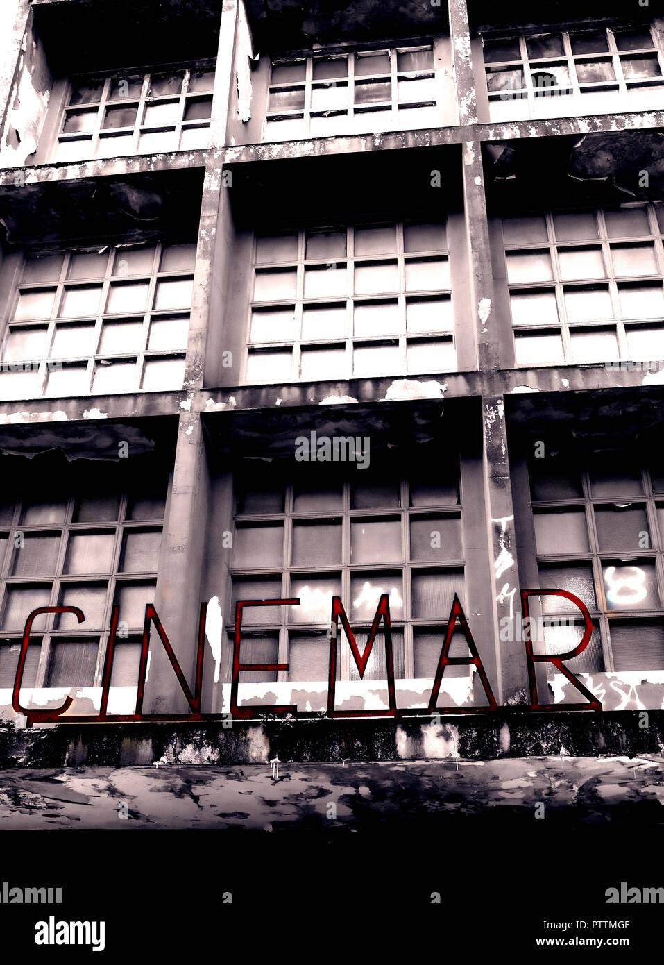 Cinéma à l'abandon, Llanes, Asturias, Espagne Photo Stock