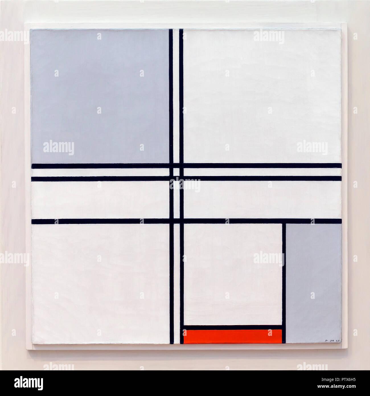 Composition No 1, Gray-Red, Piet Mondrian, 1935, Art Institute of Chicago, Chicago, Illinois, USA, Amérique du Nord Photo Stock