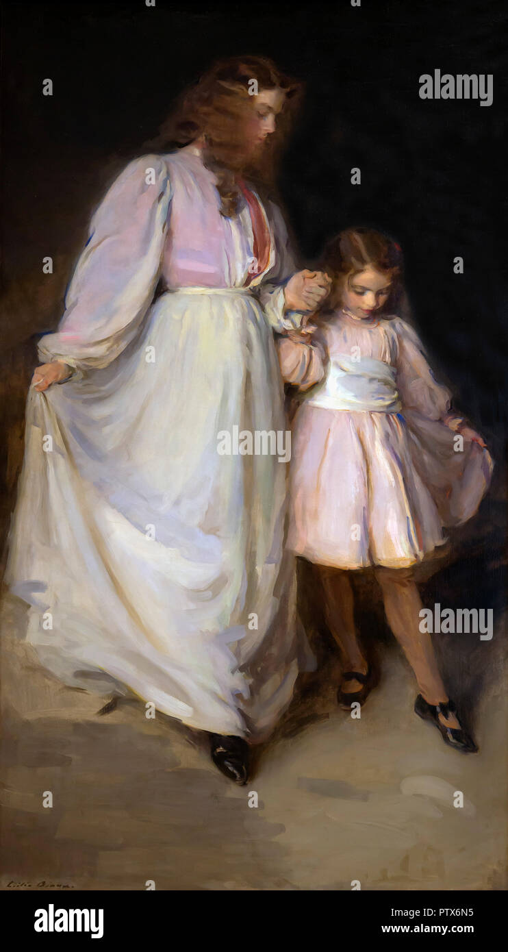 Dorothea et Francesca, Cecilia Beaux, 1898, Art Institute of Chicago, Chicago, Illinois, USA, Amérique du Nord Photo Stock