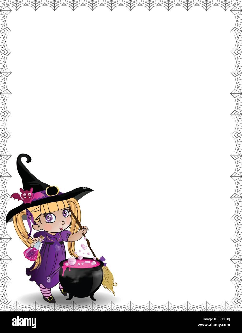 Vector Illustration De Peu Kawaii Bébé Fille Sorcière Avec