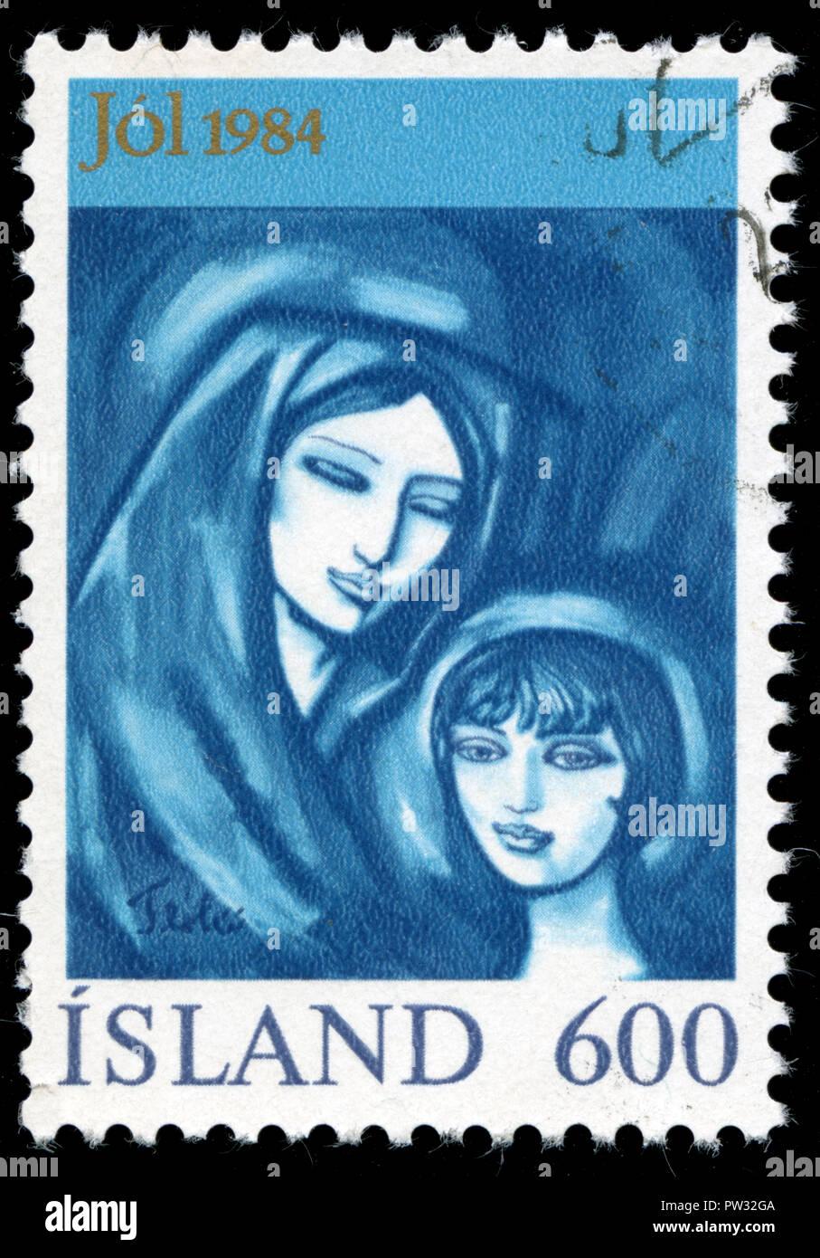 Timbre cachet de l'Islande, à la série de noël publié en 1984 Photo Stock