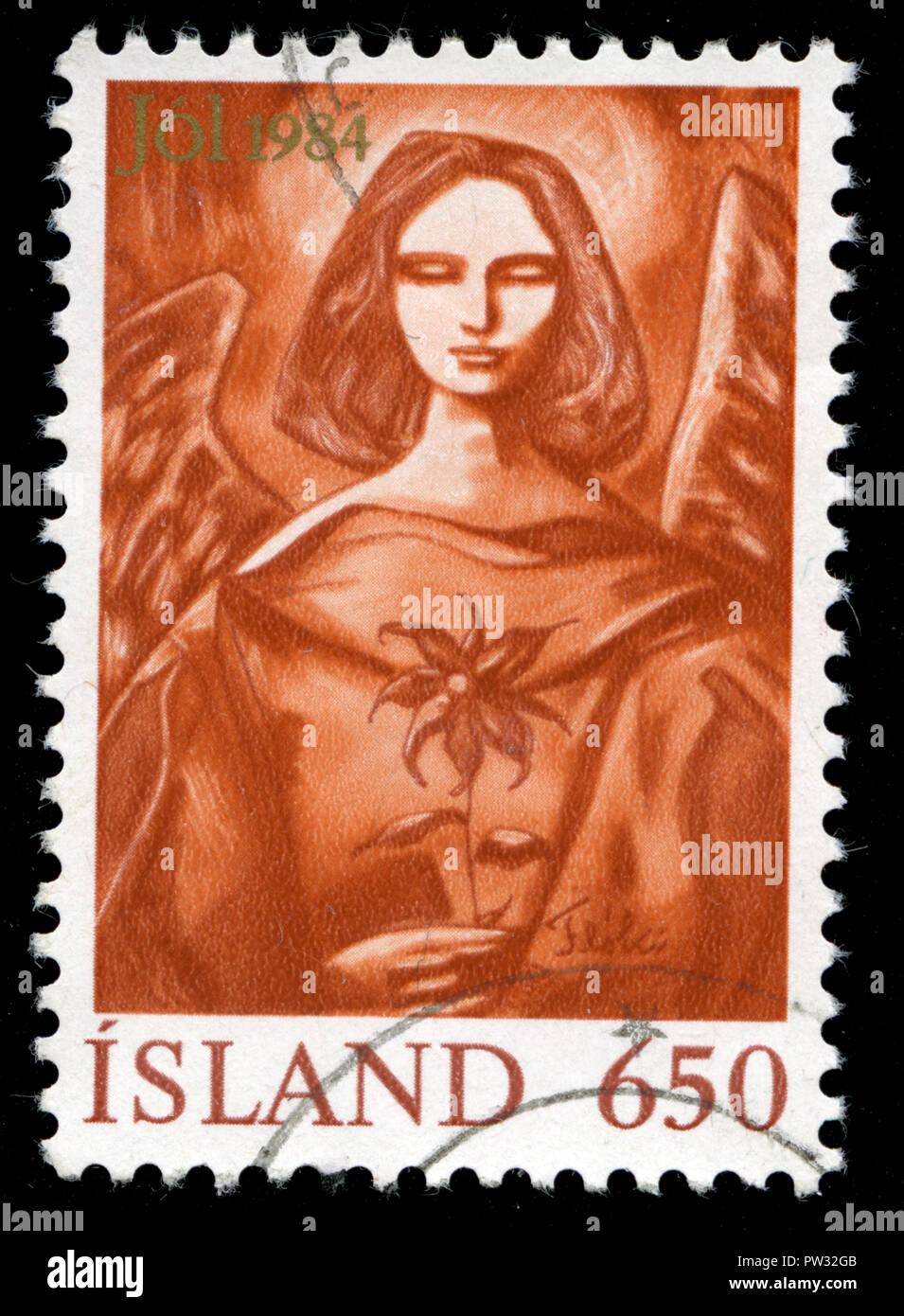 Timbre cachet de l'Islande, à la série de noël publié en 1964 Photo Stock