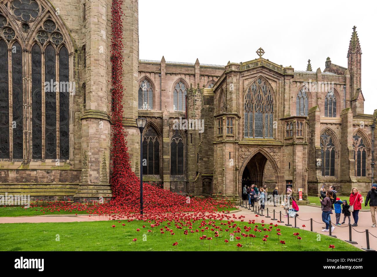 Fenêtre en pleurs, Hereford Cathedral Photo Stock