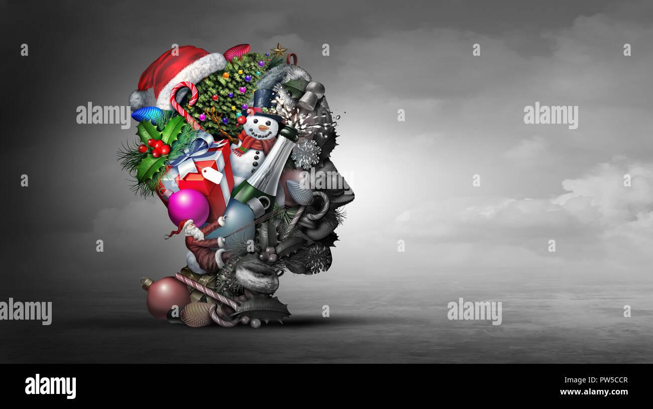 La dépression de vacances d'hiver en psychologie ou en psychiatrie santé mentale concept représentant l'idée de se sentir déprimé durant Noël Nouvel An. Photo Stock