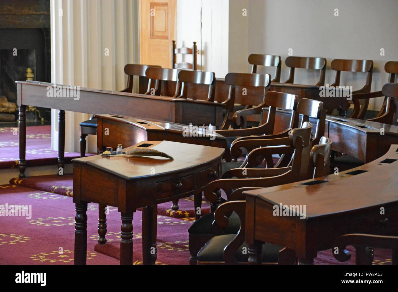 L'intérieur de l'ancienne Chambre des représentants au North Carolina State Capitol building, à Raleigh. Banque D'Images