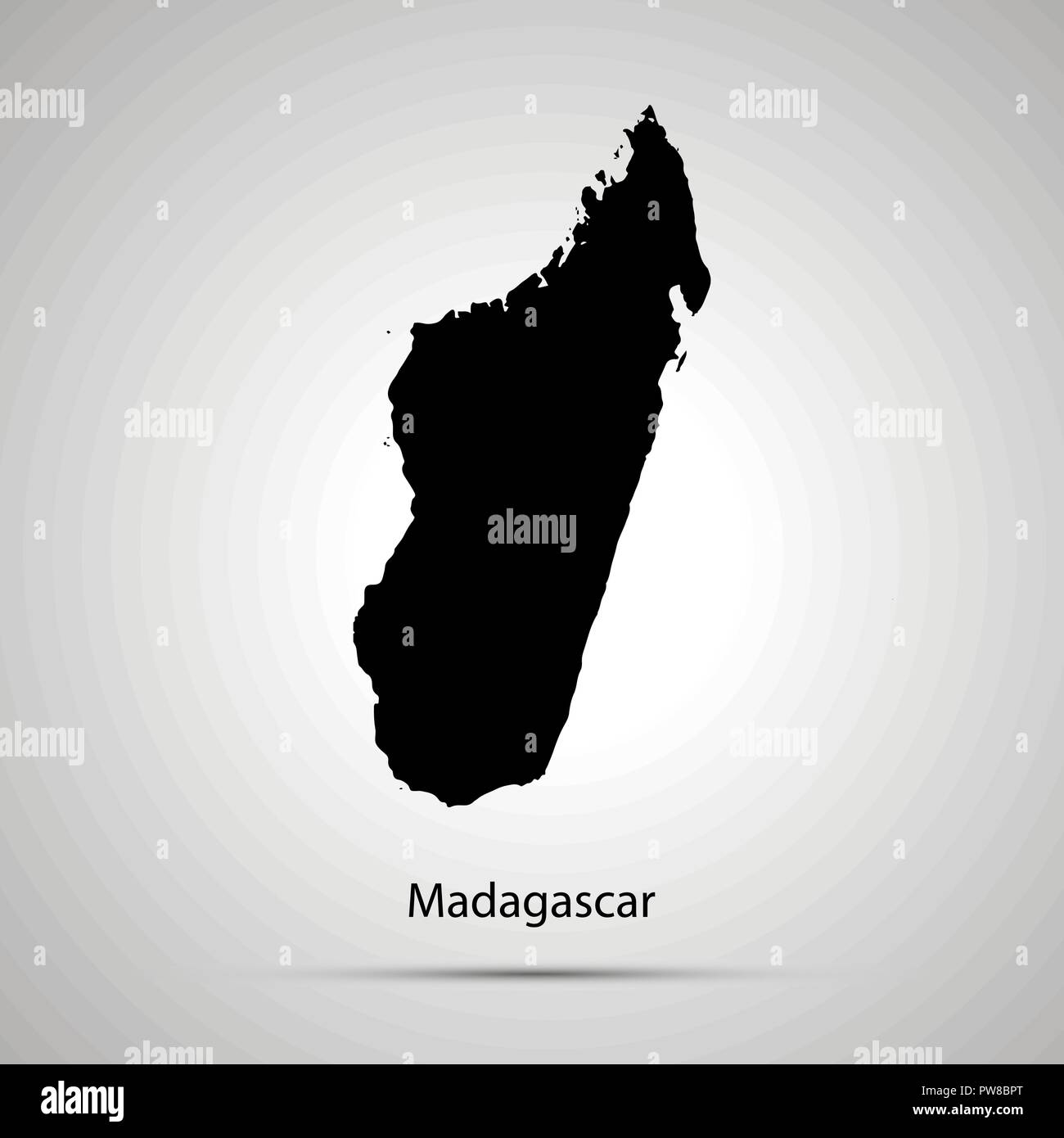 Madagascar Carte Simple.Madagascar Carte Pays Simple Silhouette Noir Sur Gris