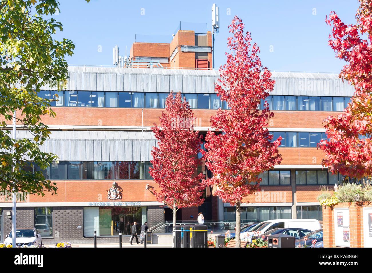Hertsmere Bureaux municipaux (Mairie), Shenley Road, Newquay, Hertfordshire, Angleterre, Royaume-Uni Banque D'Images