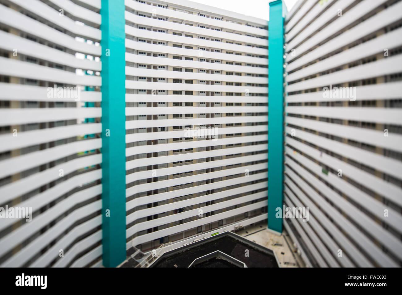Une forme de diamant HDB bloc à Jurong Taman à Singapour. Banque D'Images