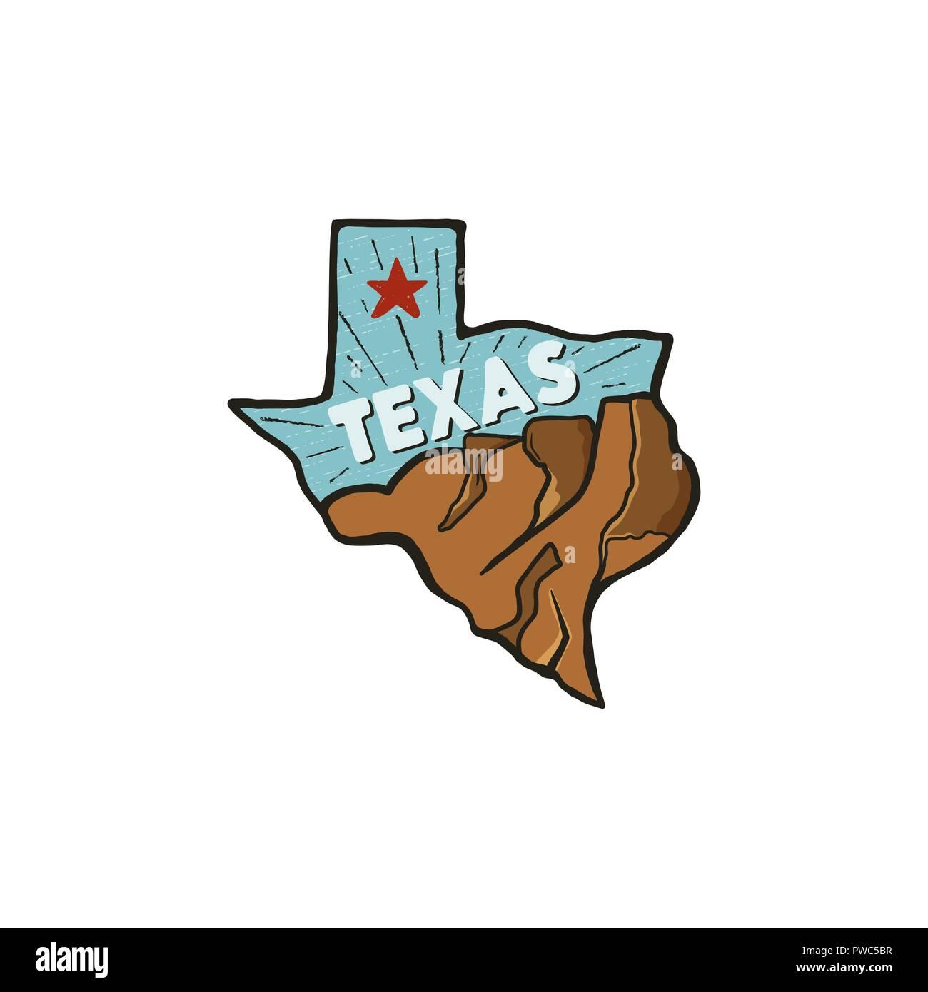 Dessiné à la main vintage badge badge de l'état du Texas, aux États-Unis. Icône de style plat, d'un logo. Avec montagnes, étoile rouge. Patch rétro, logotype. Nice pour T-shirts imprimés, stamp. Stock vector isolated on white Illustration de Vecteur