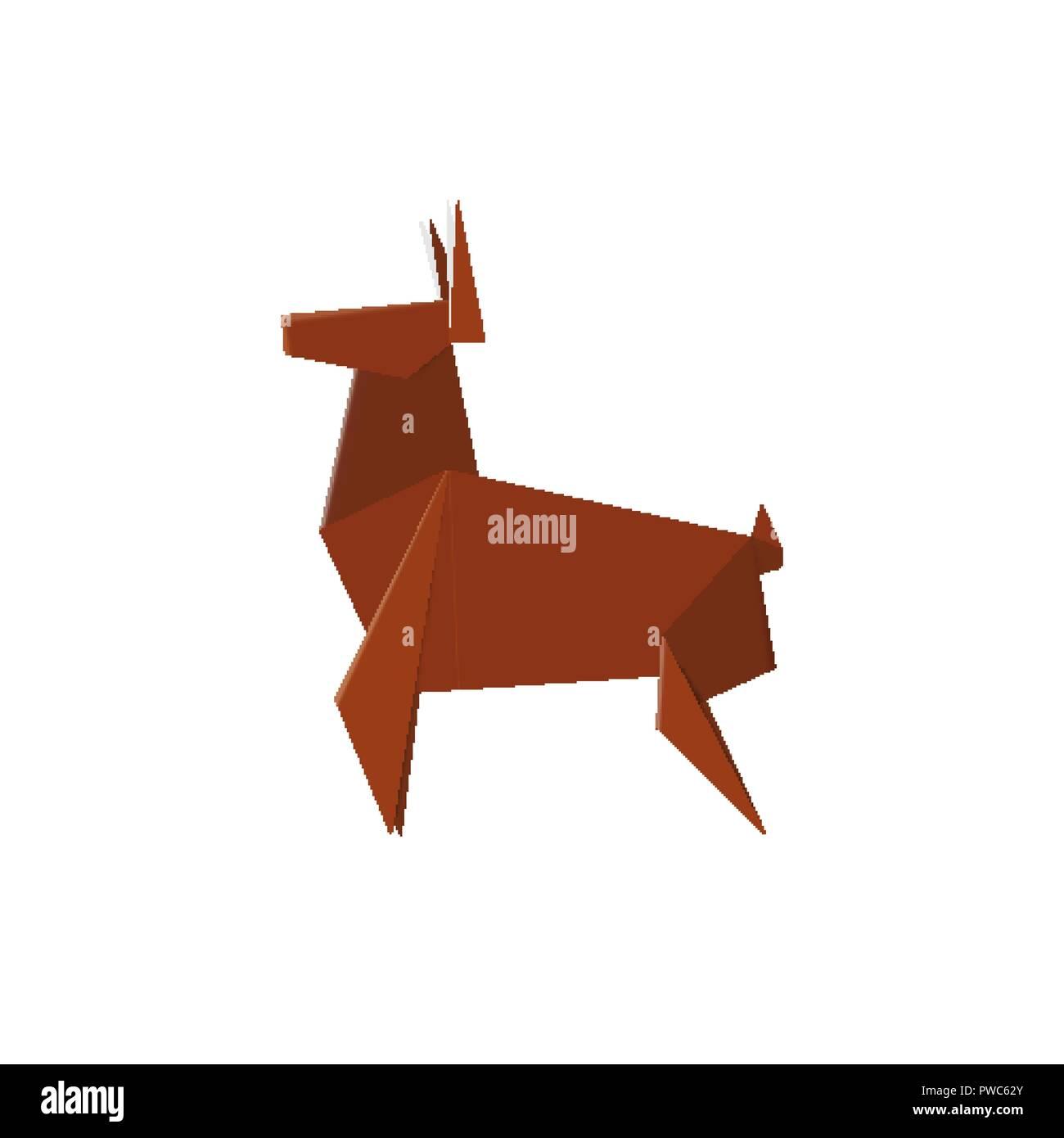 Origami Fait Main Deer à Partir De Papier Pliée Stag Animal Nature