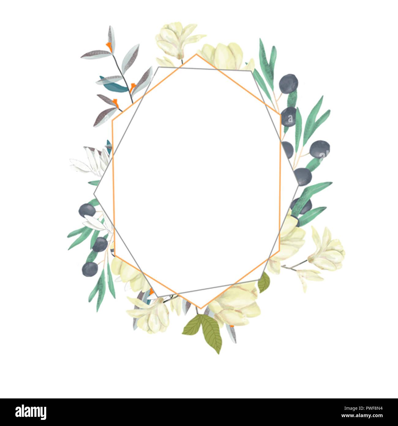 Invitation de mariage, carte d'olive, inviter floral floral et géométrique magnolia cadre doré imprimer. Fond blanc Banque D'Images