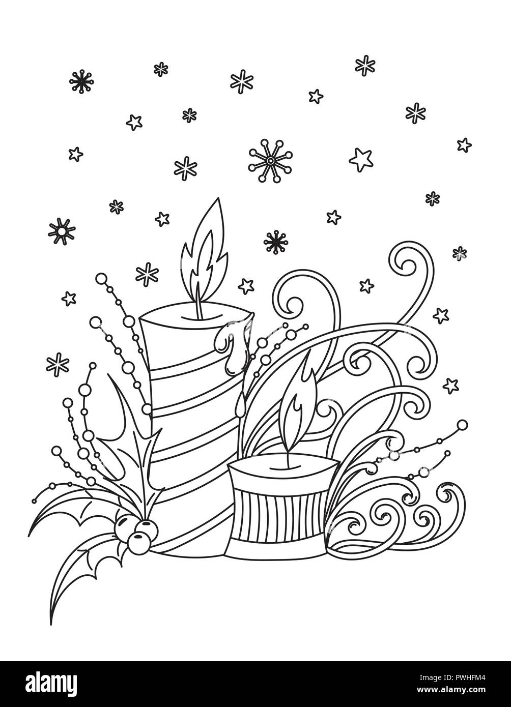 Coloriages de Noël. Livre de coloriage adultes. Décor de vacances