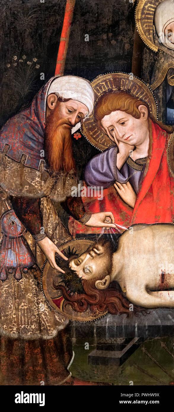 Endeuillé par le Christ mort par Joan Mates ( c.1370-1431), acryl et dorure sur bois, c.1410-20 Photo Stock