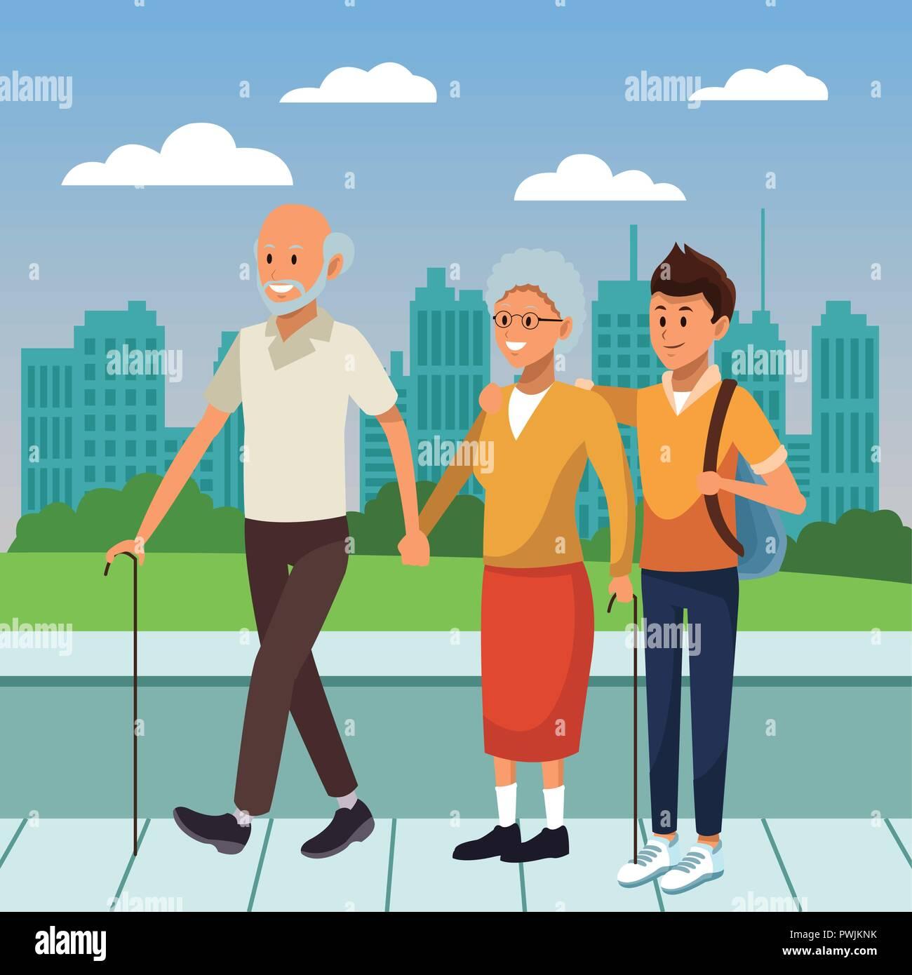 jeune personne en l u0026 39 accompagnement et l u0026 39 aide aux personnes  u00e2g u00e9es cartoon vector illustration
