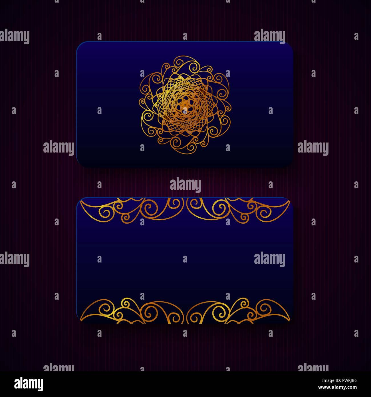 Cartes De Visite Luxe Dans Des Modeles Couleur Bleu Nuit Avec Decorations Dorees Sur Fond Sombre Cadeau VIP
