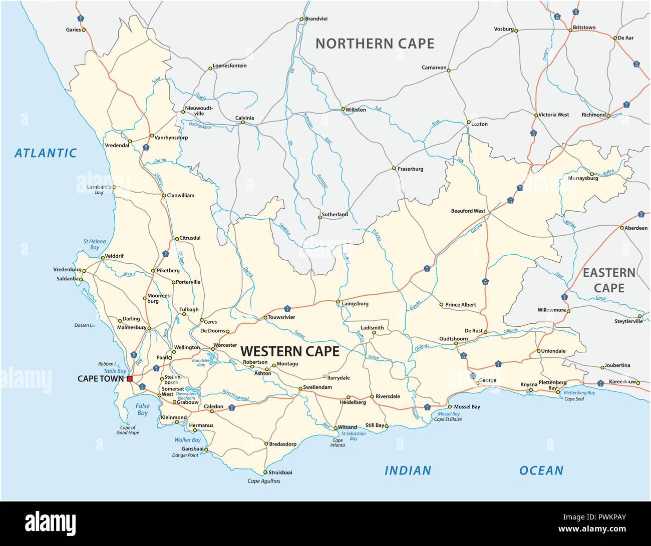 Carte Afrique Vectorielle.Afrique Du Sud Western Cape Province Road Carte Vectorielle
