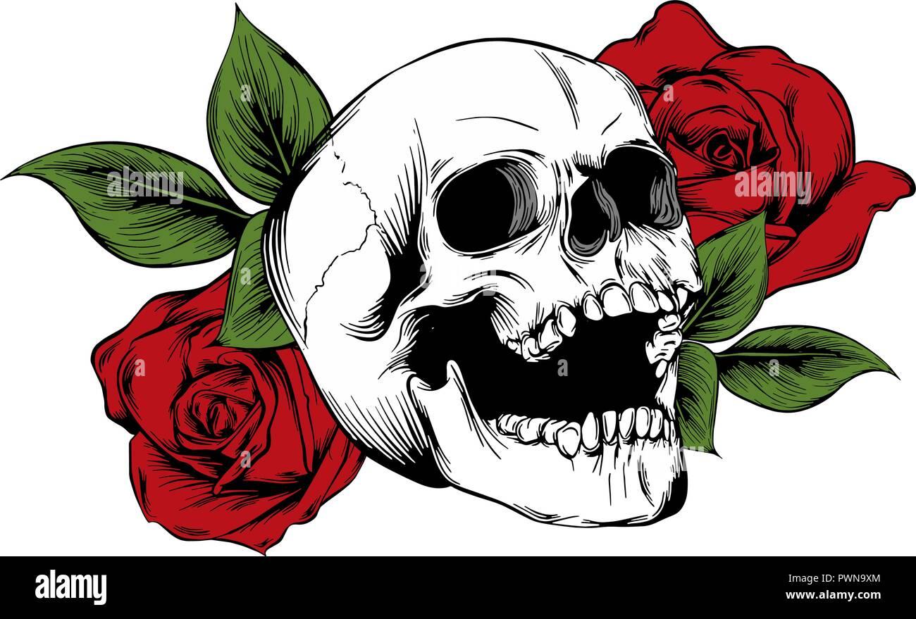 Crane Avec Des Fleurs Des Roses Le Dessin A La Main Vecteur