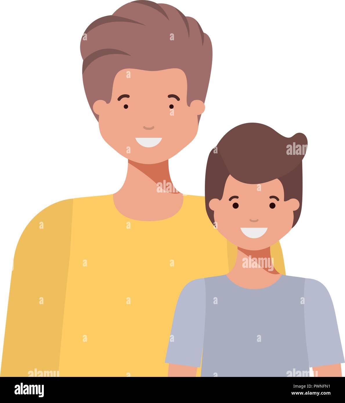 Le père avec son fils souriant caractère avatar Illustration de Vecteur