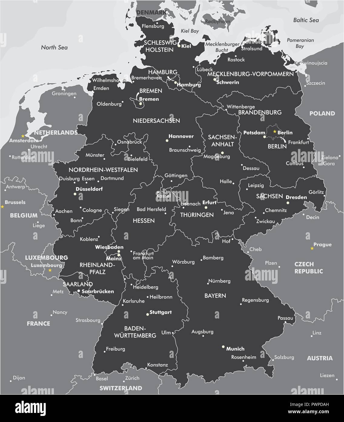 Carte Allemagne Noir Et Blanc.Carte En Noir Et Blanc De L Allemagne Pour Votre Conception