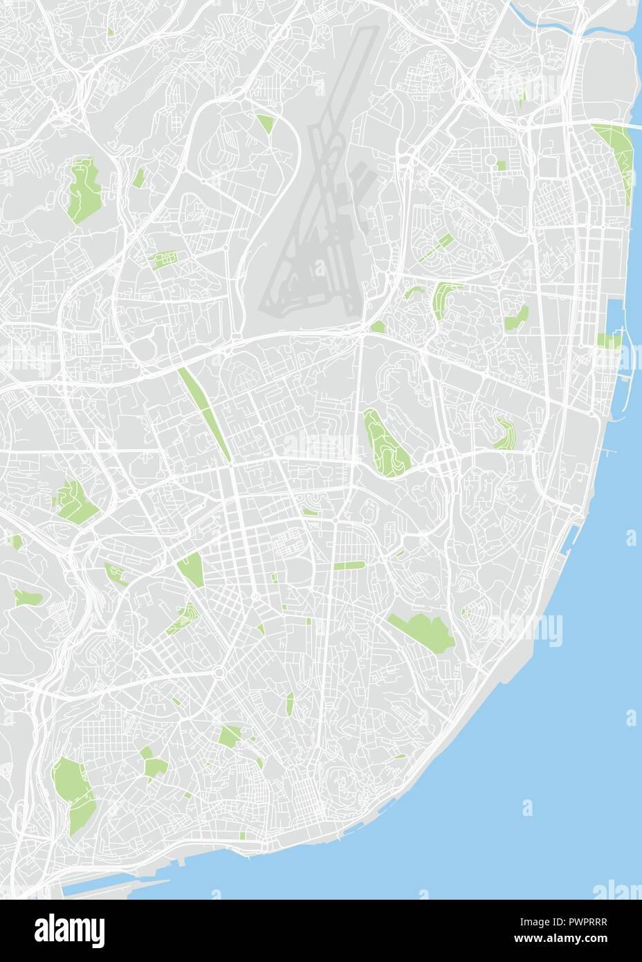 Couleur de Lisbonne carte vectorielle plan détaillé de la ville, les rivières et les rues Illustration de Vecteur
