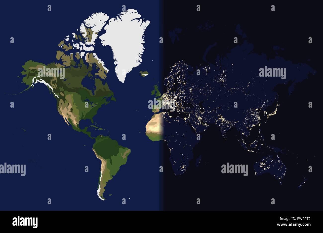 Carte Du Monde Jour Nuit.Nuit A L Est Le Jour De L Ouest Carte Du Monde Vector