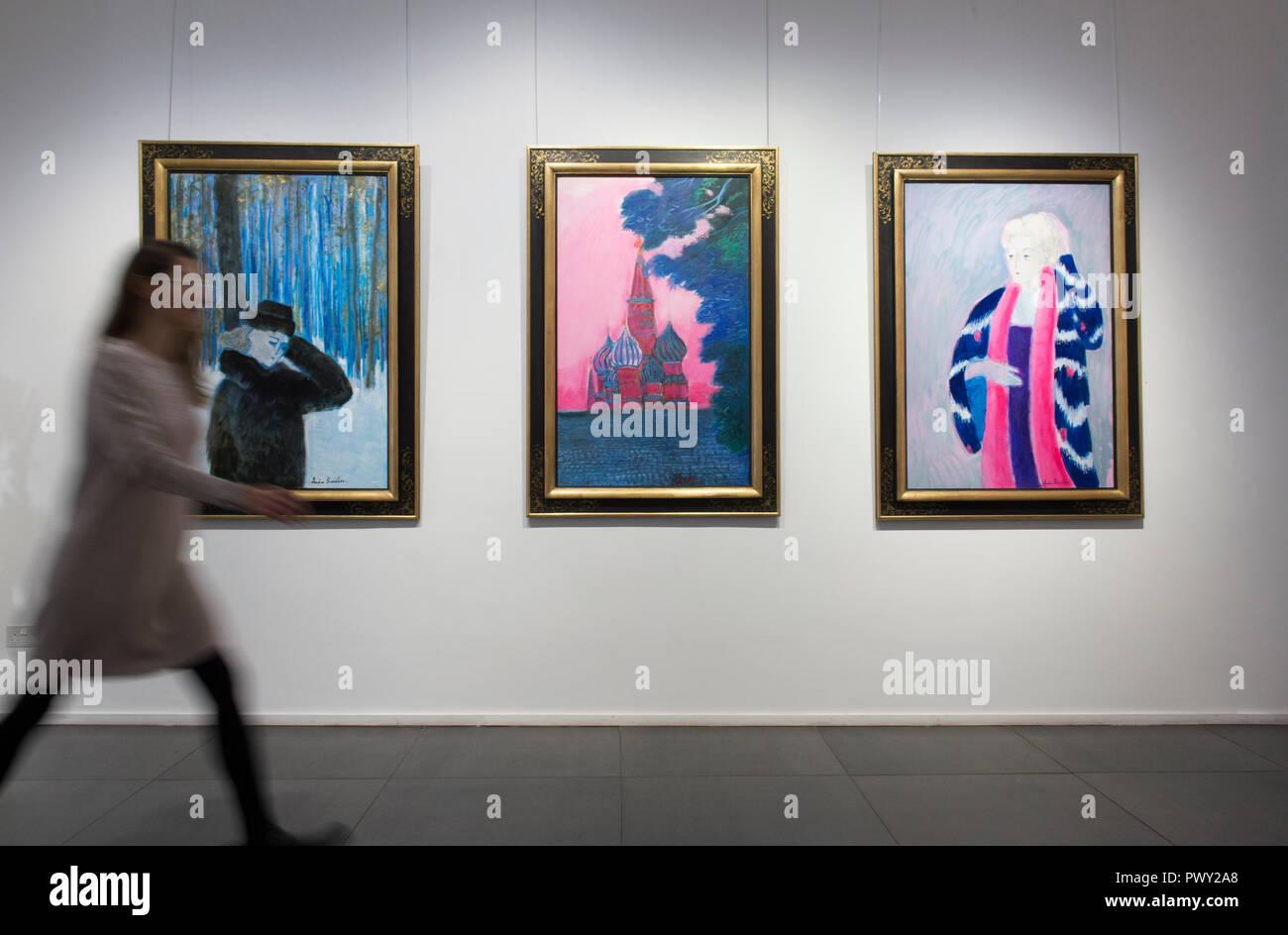 Opera Gallery, New Bond Street, London, UK. 18 octobre, 2018. 90 ans artiste fauviste français André Brasilier assiste à l'ouverture d'une exposition rétrospective de son travail, accompagné de son épouse et muse, Chantal. Brasilier a été le premier artiste à remporter le Prix de Rome, il a été admiré par Marc Chagall, et il a compté Jacqueline Roque comme l'un de ses bons amis. Cependant, tout comme Leon Kossoff, Brasilier a toujours gardé un profil bas. Credit: Malcolm Park/Alamy Live News. Banque D'Images