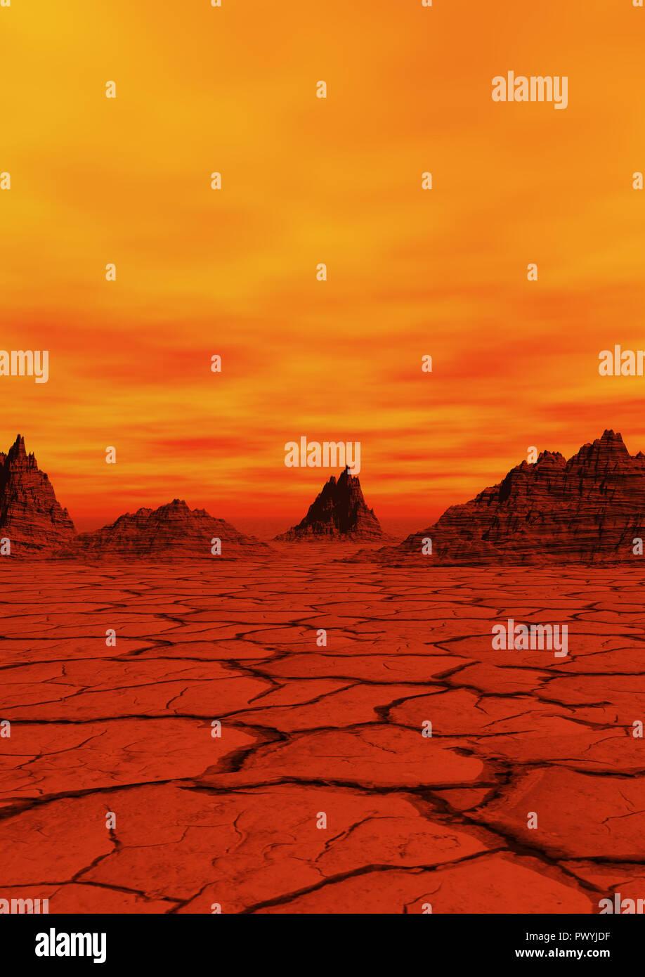 Planète rouge illustration avec la masse du désert Photo Stock