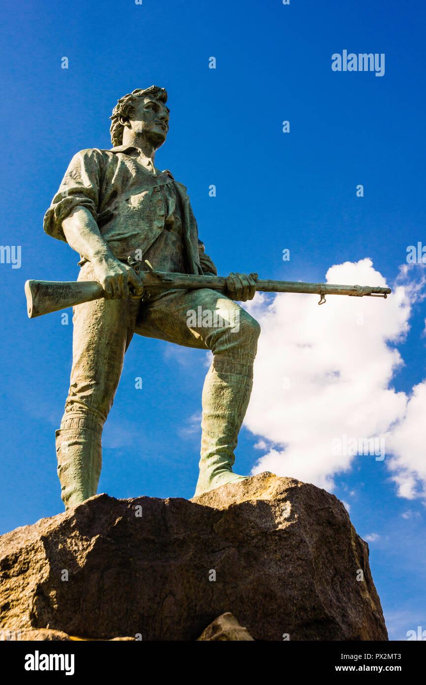 Statue Minuteman Lexington Battle Green _ Lexington, Massachusetts, USA Banque D'Images