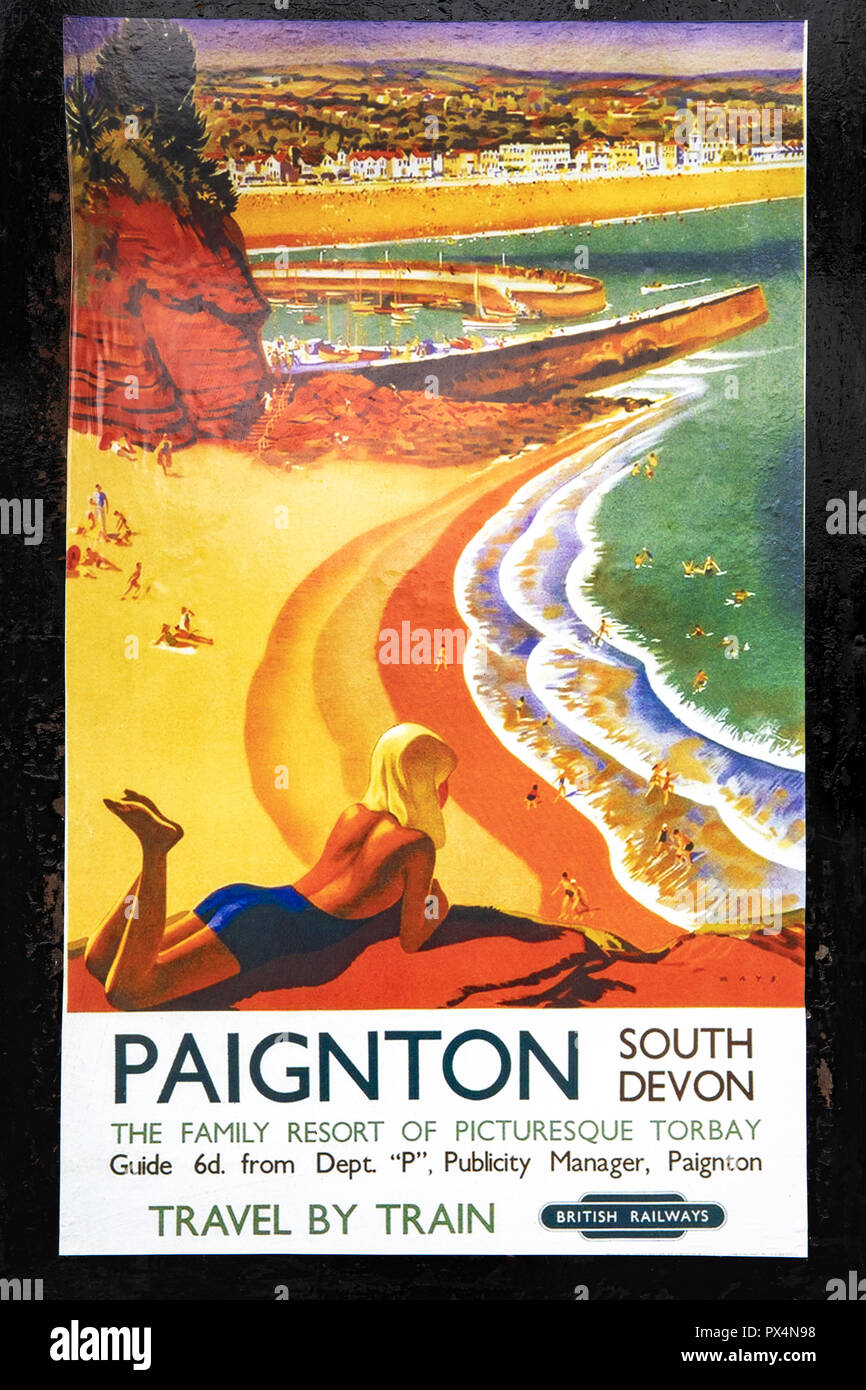 Ancienne affiche de British Rail d'encourager les gens à voyager en train. Photo Stock