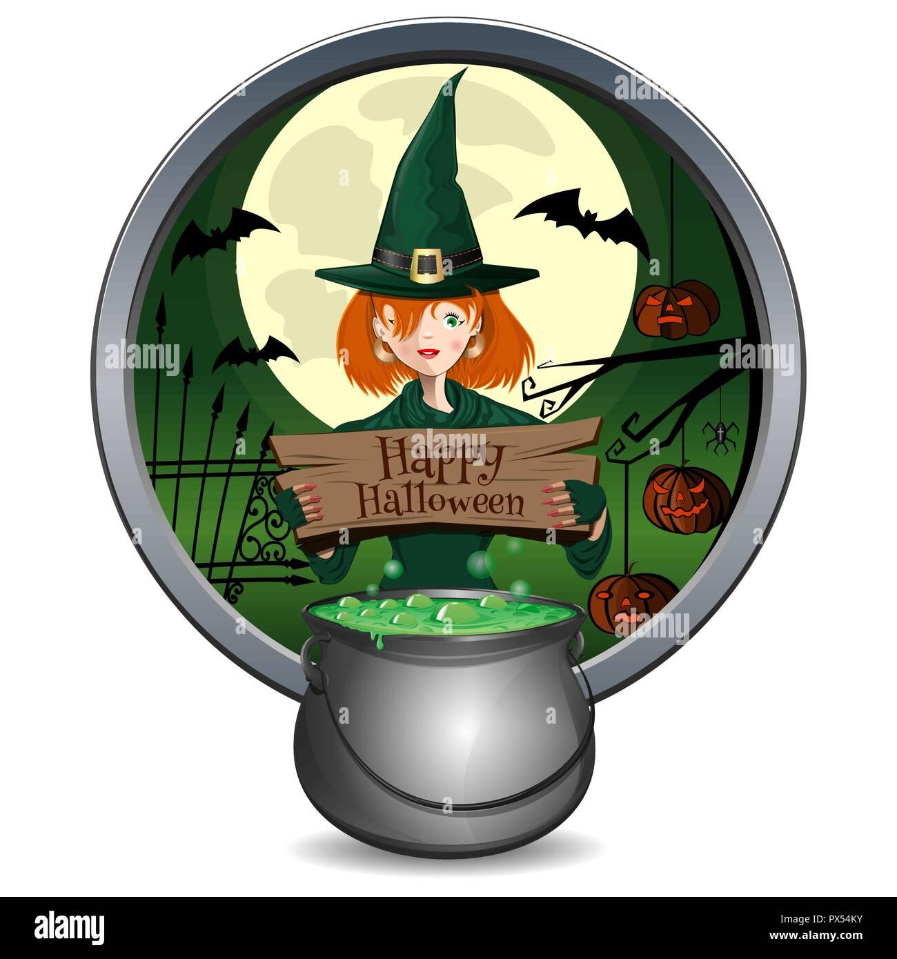 Sorcière Halloween Cute Girl Avec Un Chaudron Vecteurs Et