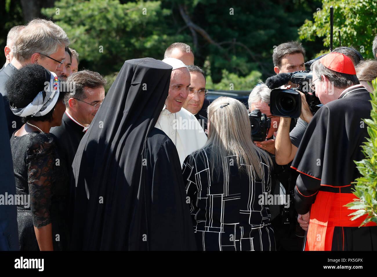 Le pape François visite le Conseil oecuménique des Eglises le 21 juin comme pièce maîtresse de la célébration oecuménique du COE's 70e anniversaire. La Suisse Photo Stock