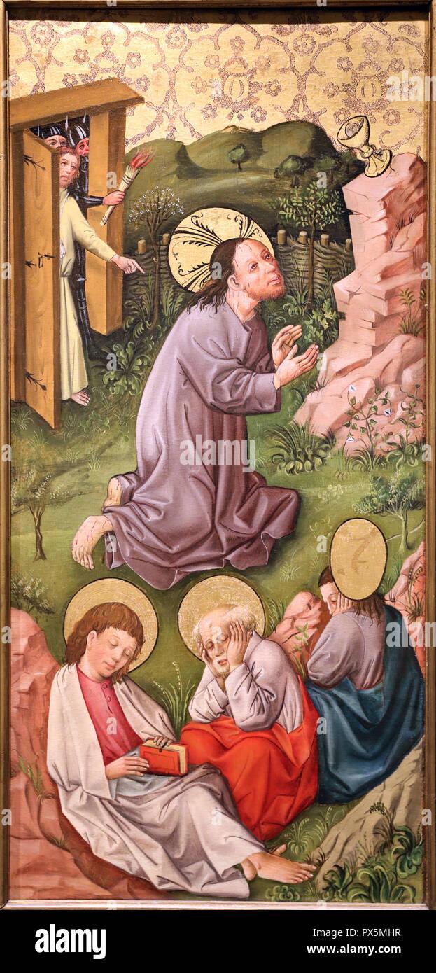 MusŽe des Beaux-Arts, Lyon, France. Musée des Beaux-Arts, Lyon, France. Rhin. Jésus au jardin des oliviers, ch. 1460. Banque D'Images