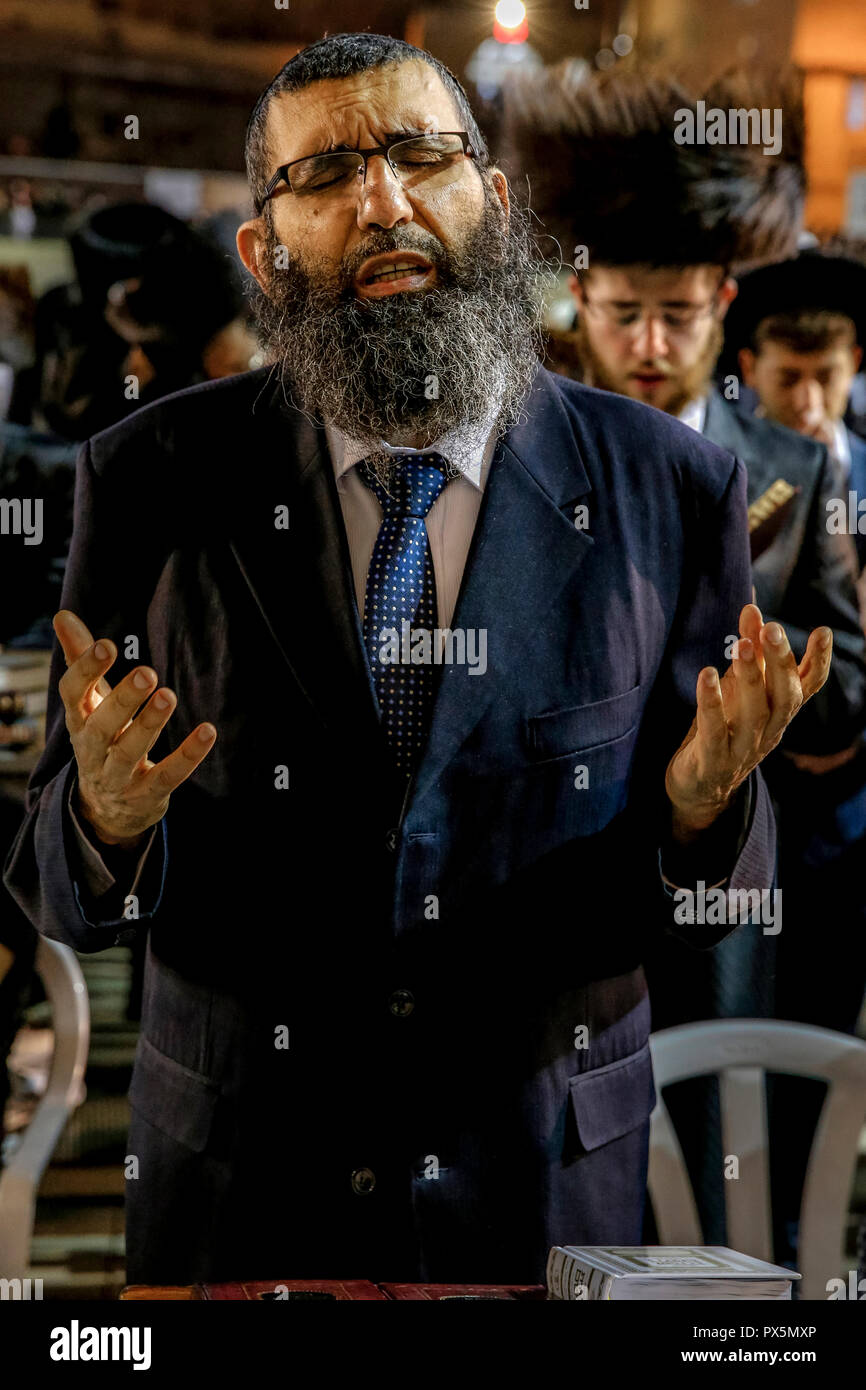 La prière au Mur des lamentations pendant Pessah festival. Jérusalem, Israël. Photo Stock