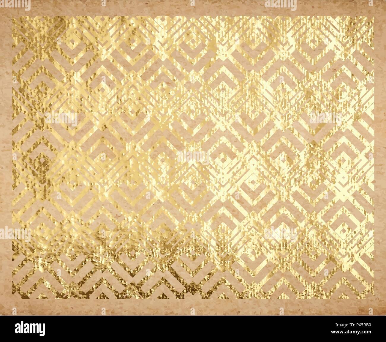 Papier A Peindre Motif motif géométrique traditionnel oriental avec golden feuille