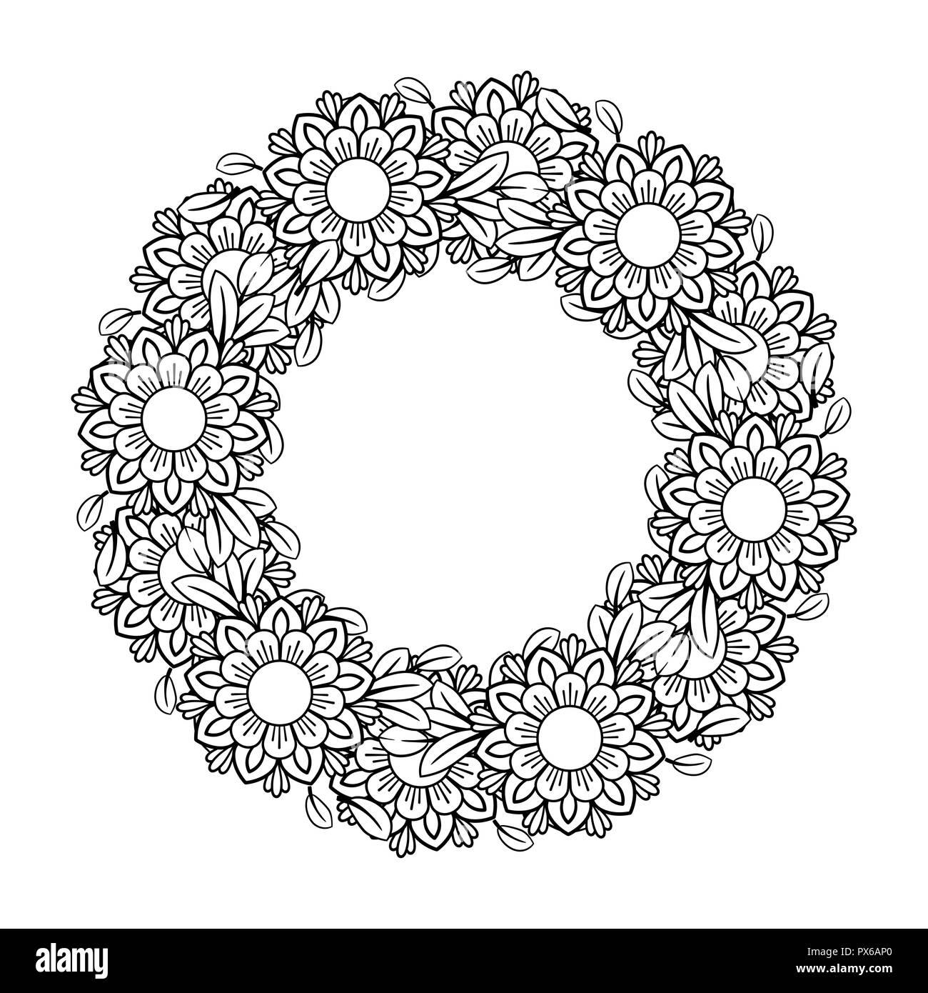 Coloriage Guirlande Fleurs.Des Profils Coloriage Avec Motif Fleurs Doodle Noir Et