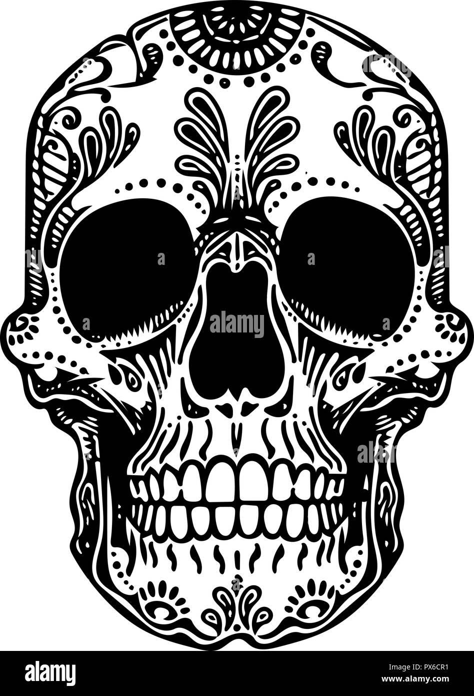 Vector Tattoo Noir Et Blanc Illustration Crâne Mexicain Vecteurs Et