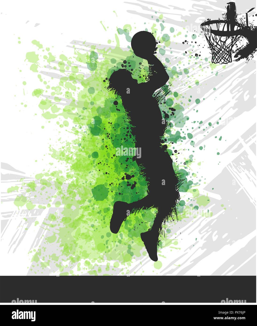 Illustration numérique peinture d'un joueur de basket-ball Photo Stock
