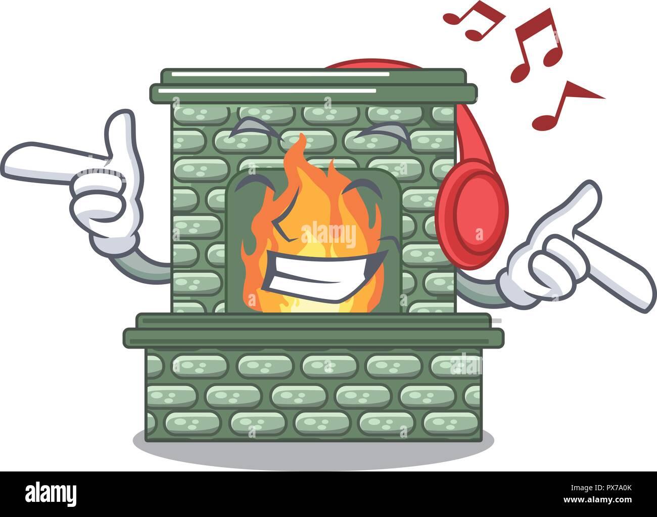 Dessin Anime La Musique D Une Cheminee En Pierre Avec La Flamme
